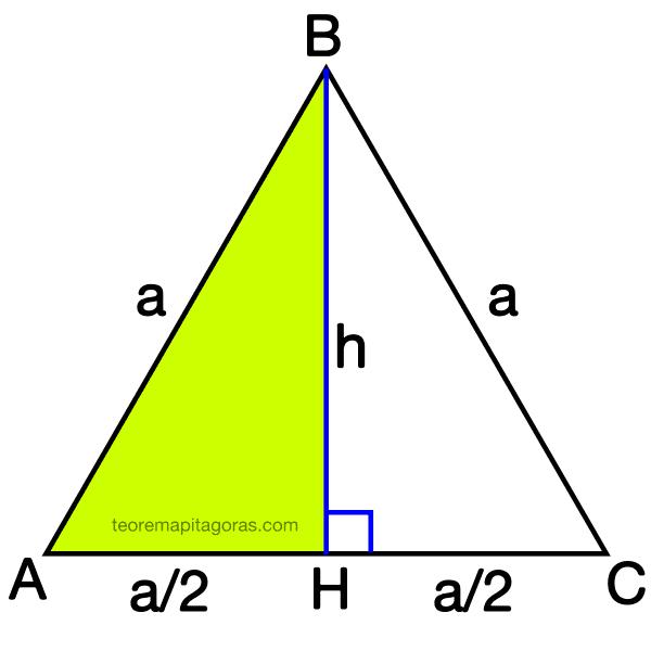 altura de un triángulo equilatero