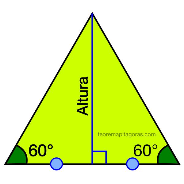 Altura de un triángulo equilátero